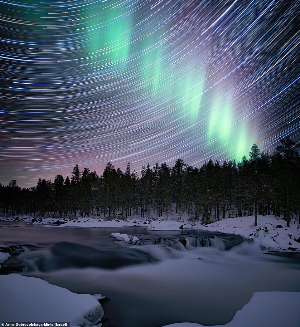 Waterfall, showing an aurora against a swirl of sky trials, was taken by Anna Dobrovolskaya-Mints and was the 'last proper shooting between lockdowns'