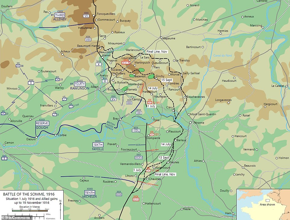A map showing the situation on July 1, 1916, the start of the Battle of the Somme, up to November 19, 1916, when the battle ended