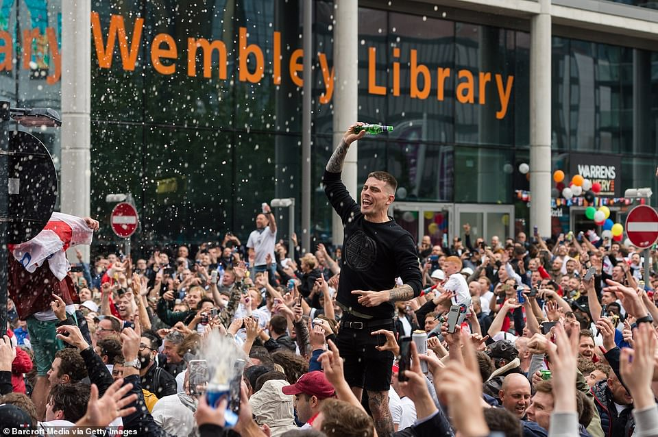 Crowds also took to the streets to celebrate the victory outside Wembley where the match took place. There was little regard for social distancing and other infection control measures
