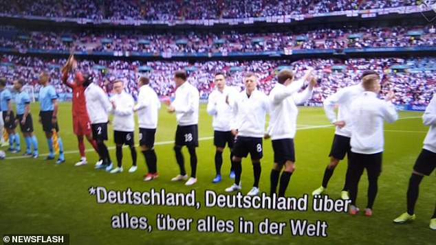 Dutch public broadcaster NPO has apologised for wrongly subtitling the German national anthem when it was played before the football team's European Championship match against England in London on Tuesday (pictured).Translated, its opening lines 'Deutschland uber alles/Über alles in der Welt' mean 'Germany above all/above everything in the world'