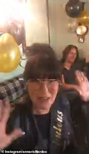 Throwback: The pair appeared in a video clip of Anna celebrating her 50th birthday in September alongside her parents, sister-in-law, and brother. Sue filmed the clip