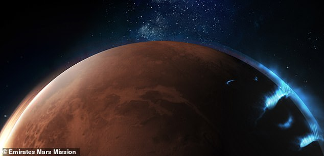 Aurora surrounding the night side of Mars have been photographed by the United Arab Emirates Hope probe, currently in orbit around the Red Planet. This is an artist impression of what the aurora might look like if it were visible to the naked eye
