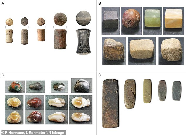 Common weight systems: Examples of Western Eurasian balance weights of the Bronze Age are pictured. A: Spool-shaped weights from Tiryns, Greece; B: Cubic weights from Dholavira, India; C: Duck-shaped weights from Susa, Iran; D: Flat block weights from Lipari, Italy