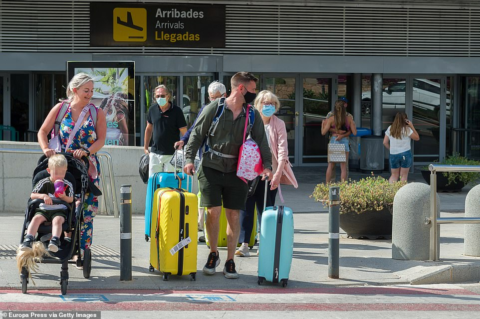 Thousands of delighted Britons have now arrived in sunny holiday destinations such as Ibiza (pictured), Mallorca and Menorca after the tourist hotspots moved onto the green list on Wednesday morning at 4am