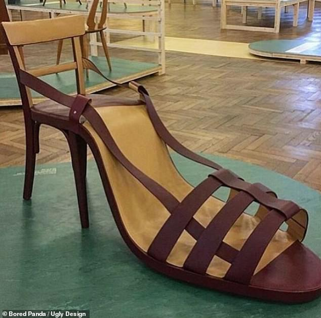 A normal wooden chair was extended to look like a heeled sandals. It is unknown how comfortable to contraception is