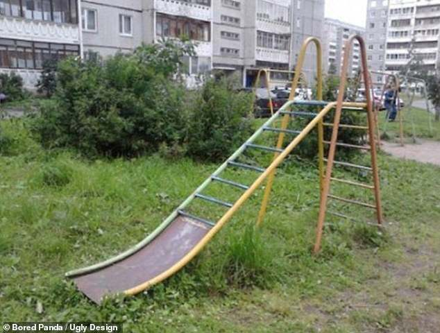 People poked fun at this playground, which had a slide that was two-thirds made of climbing ladder