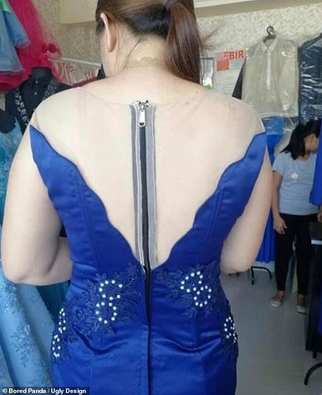 In this gown shop, the massive zipper at the back of this dress ruined its nude illusion at the back