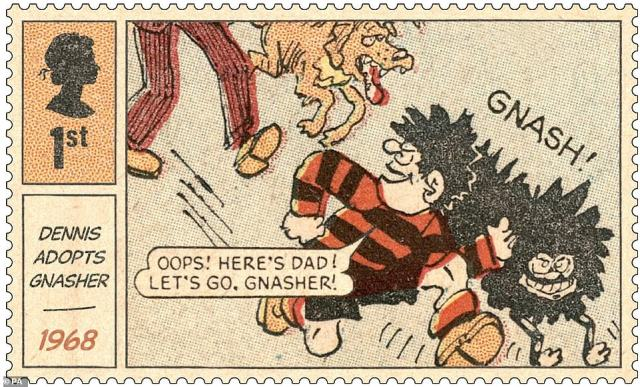 One of the stamps features the scene where Dennis adopts Gnasher, taken from a 1968 comic featuring the iconic children's character