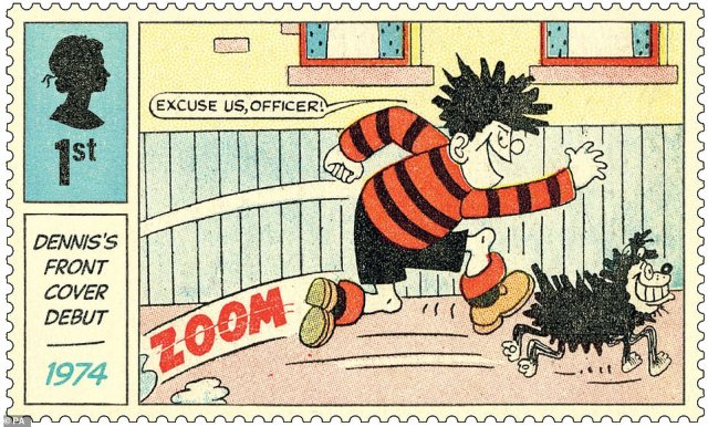 They were released to mark 70 years of the iconic Beano comic character. Six stamps are black and white and will be based on the original comic strips