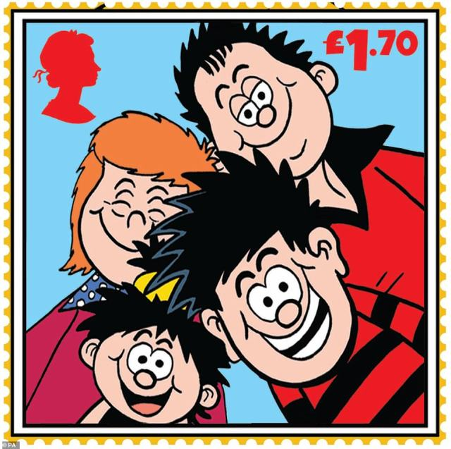 Dennis was first brought to life in a pencil sketch in January 1951, making his debut in the Beano later that year. Pictured: A Dennis the Menace stamp featuring Dennis and his family