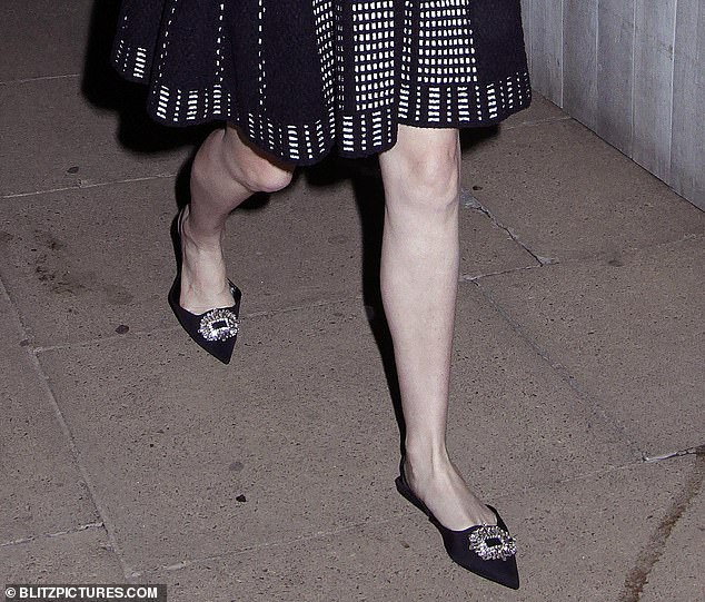 All that glitters! Beatrice accessorised with chic point-toe ballet pumps adorned with a glittering buckle at the toe