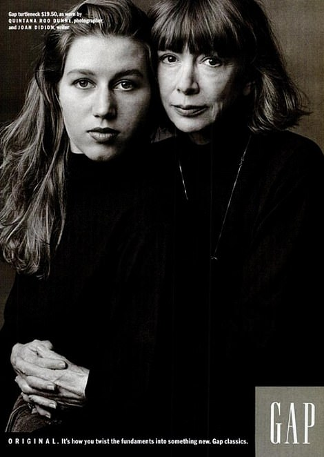 Joan Didion in an advert from 1989
