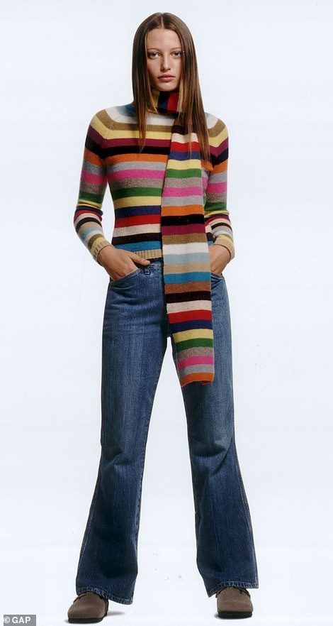 Must-wear pieces: The rainbow knit is a Gap classic. Pictured, in a 2000s advert