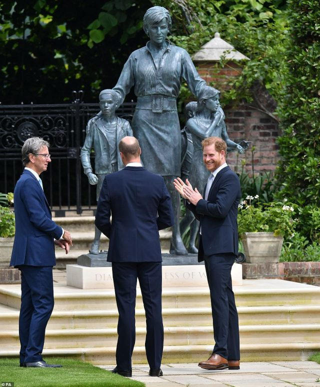The princes with sculptor Ian Rank-Broadley, whose likeness of the Queen's head adorns coins in the UK and the Commonwealth