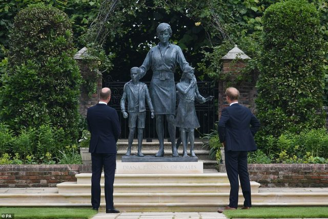 The siblings are marking their mother's 60th birthday by unveiling a sculpture created in her honour by Ian Rank-Broadley and placed in the remodelled gardens she loved all packed with 4,000 of her favourite plants and flowers