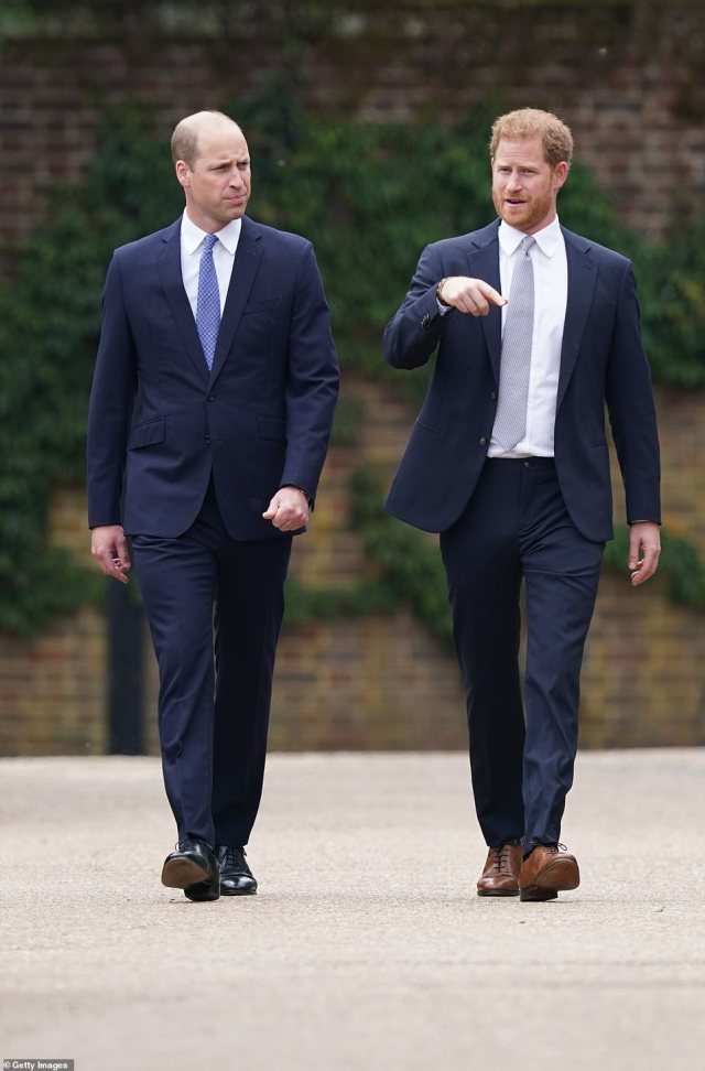 'Statesmanlike' Prince William took on the 'older brother role' while 'flamboyant' Prince Harry was 'tense' as they attended unveiling of Princess Diana statue on what would have been her 60th birthday, a body language expert has revealed