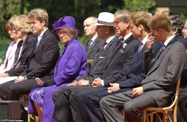 Lady Sarah McCorquodale and Lady Jane Fellowes, Earl Spencer, The Queen the Duke of Edinburgh, the Prince of Wales, Prince William and Prince Harry attend the inauguration of a fountain built in memory of Diana, Princess of Wales in Hyde Park in 2004