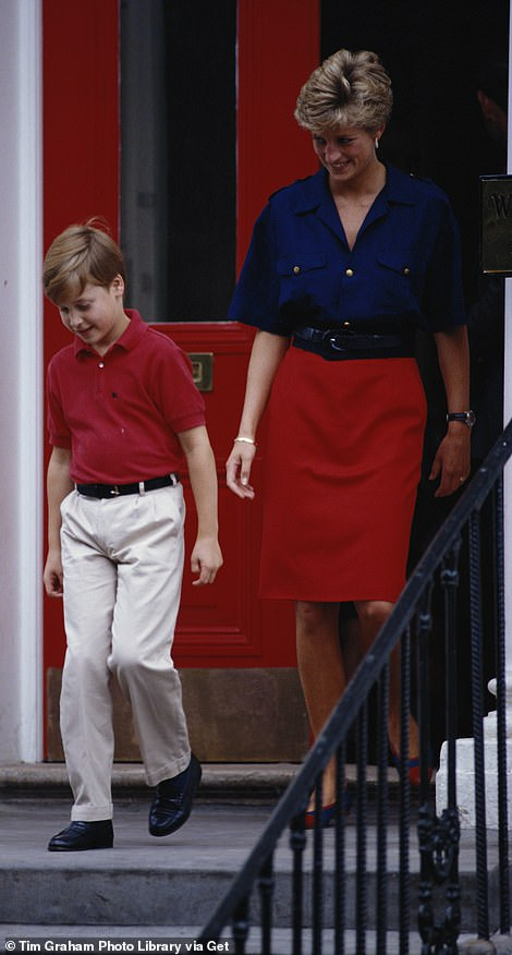The style of clothing worn by the princess in the statue was one she favoured. Pictured: Diana leaving Wetherby School in London with Prince William in 1991.