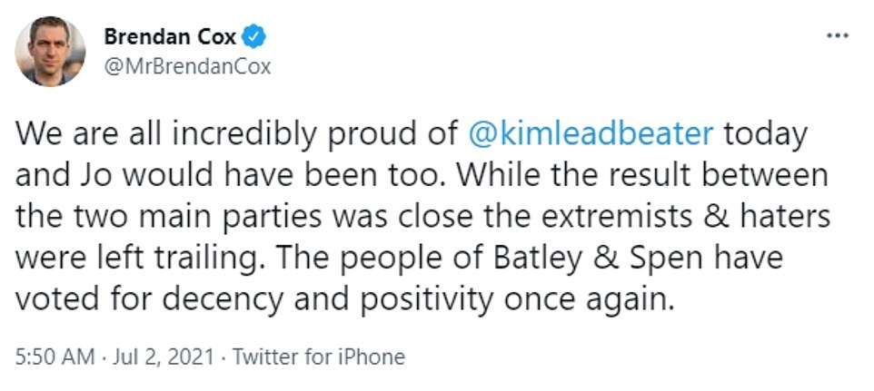 Brendan Cox, the widower of Miss Cox, the Batley and Spen MP who was murdered by a far-Right extremist in June 2016 during the EU referendum campaign, tweeted: 'We are all incredibly proud of @kimleadbeater today and Jo would have been too'