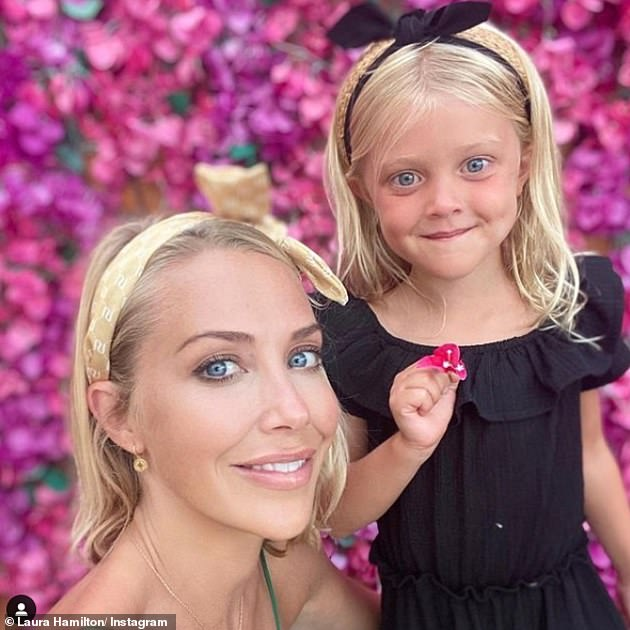 Family: Laura first spoke about the condition last year after noticing changes in her body following the birth of daughter Tahlia in 2015 (pictured with daughter Tahlia in January)