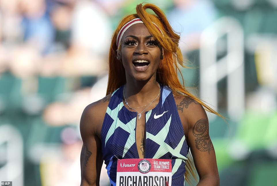Sha'Carri Richardson, pictured at Olympics trials in Eugene, Oregon in June 2021, is set to miss Tokyo 2020 after the reportedly tested positive for cannabis
