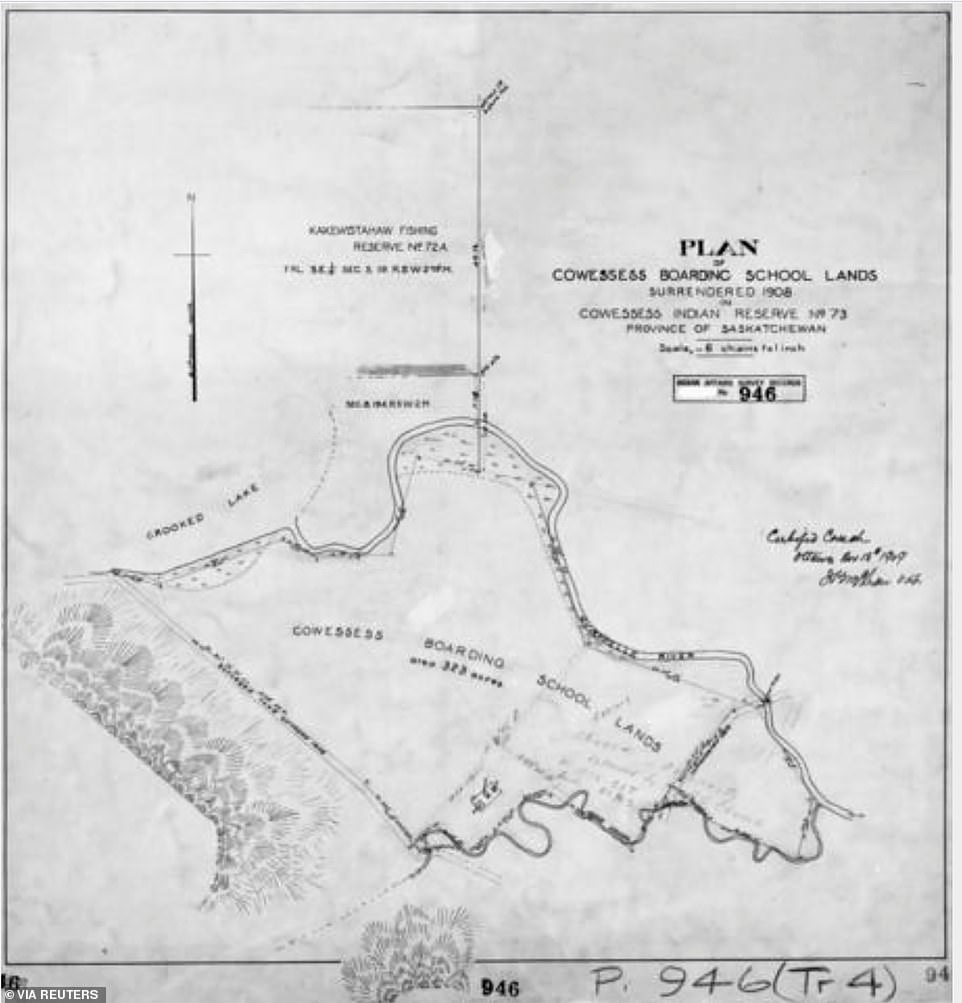 The area of the Marieval Indian Residential School is seen in an undated map on the Cowessess Reserve near Grayson, Saskatchewan, Canada