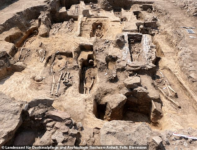 A cemetery with 70 graves and several stone tombs were also found during excavations, which researchers say was used as a burial site for the region's aristocratic families