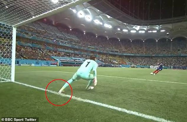 Highlights showed that Sommer's foot (circled) was on the line before he saved the penalty