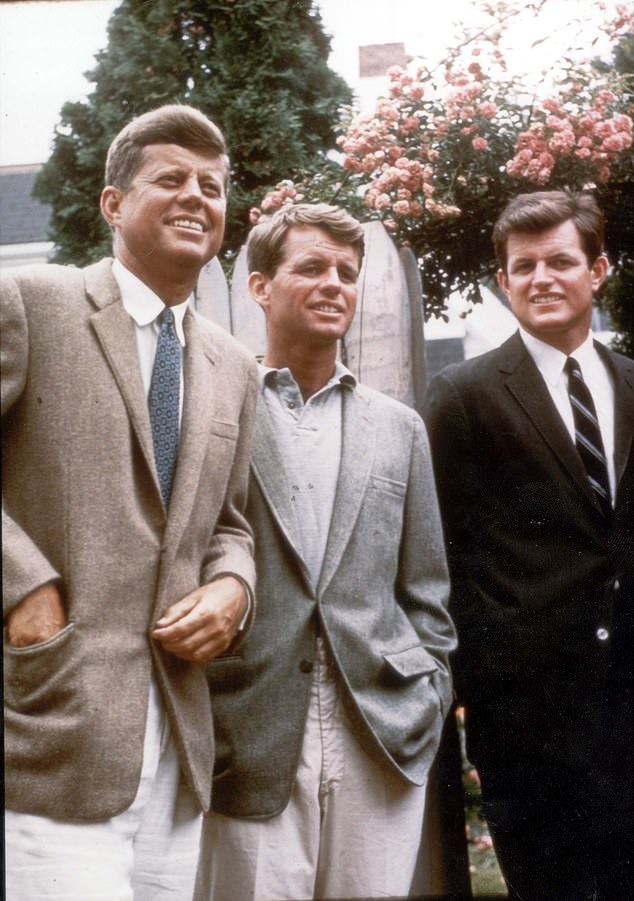 Fomer LA policeman Mike Rothmiller has decided to reveal what he claims is the extraordinary truth: that secret documents he found in LAPD archives show that Marilyn Monroe was assassinated to protect the Kennedy clan. (Pictured,John F Kennedy, Robert Kennedy, Teddy Kennedy in 1960)