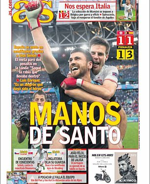AS's front page ran with the headline 'Hands of a Saint' with a picture of Simon celebrating the win