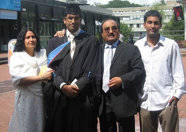 Proud moment: Dr Qureshi, who grew up in Essex in the 1990s, pictured with his family at his graduation in 2009
