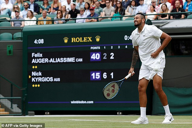 The Australian was in obvious pain with every serve as he struggled through the second set