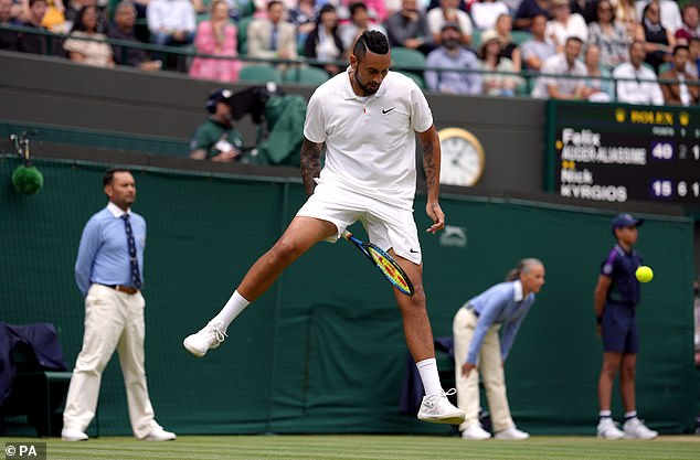 Kyrgios was up to his usual tricks despite his injury, but was forced to bow-out eventually