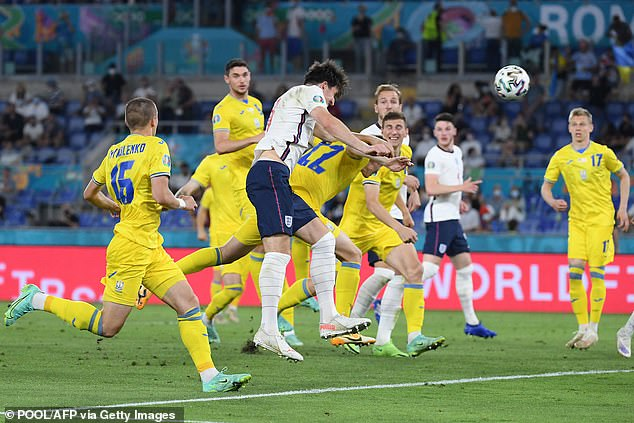 Shaw's free-kick fell perfectly to Maguire who headed home England's second after half-time