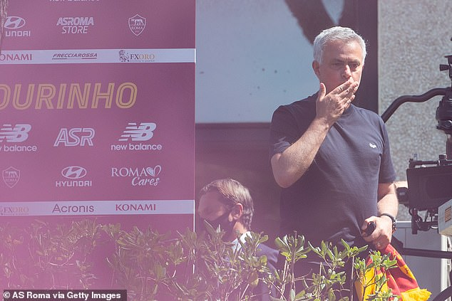 Shaw's cross happened in Rome - where Mourinho landed on Friday to start as Roma boss