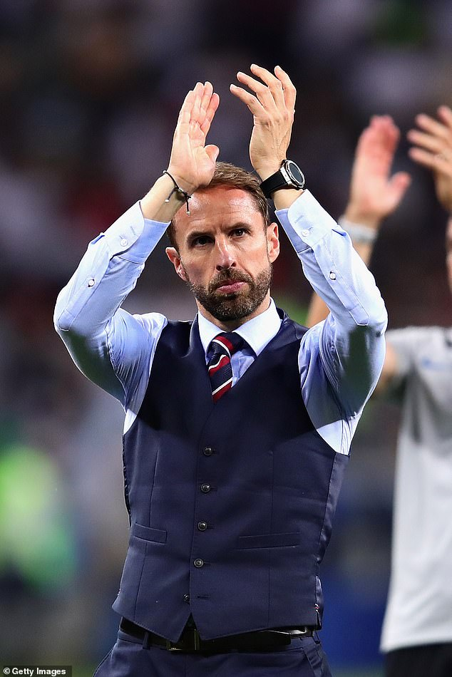 Bye-bye waistcoat...the navy garment sparked a sales boom in 2018 at the World Cup but has been hung back up in the England manager's wardrobe