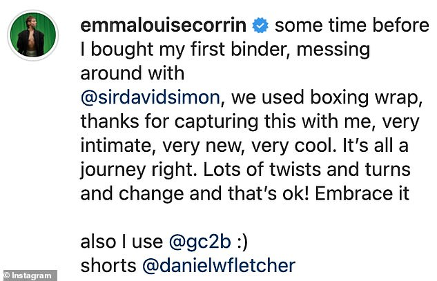 Post: Revealing the snaps were taken before she bought her first binder, Emma said: 'Some time before I bought my first binder, messing around with @sirdavidsimon'