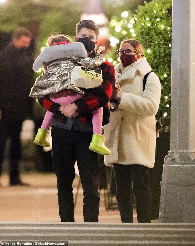 Cute: The 36-year-old actress on the A-list already has a child — a six-year-old daughter named Rose Dorothy Dauriac (Colin is seen carrying her in New York City back in April)