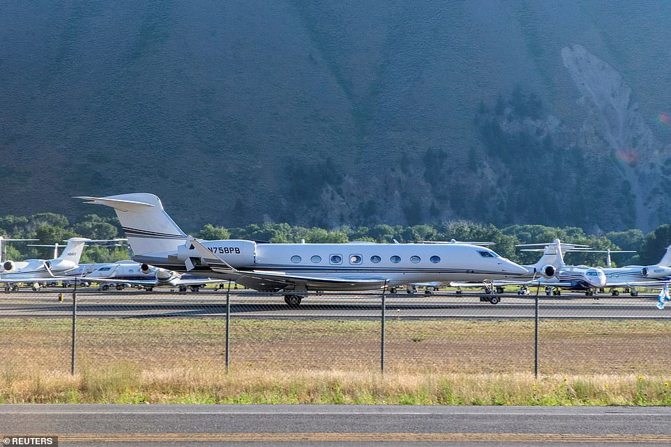 Jeff Bezos' Gulfstream G650 could be seen arriving at Idaho's Friedman Memorial Airport Tuesday, although the billionaire Amazon founder had yet to make an appearance