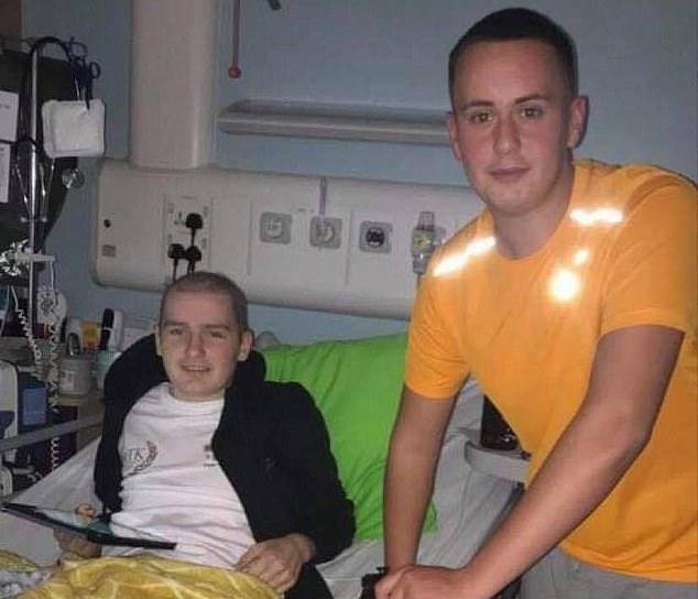 Aidan being visited by his best friend Mason while receiving leukaemia treatment in Edinburgh