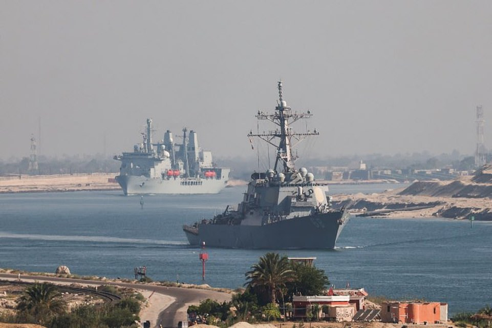 USS The Sullivans is seen ahead of RFA Fort Victoria as the vessels sail through the Suez Canal on Tuesday