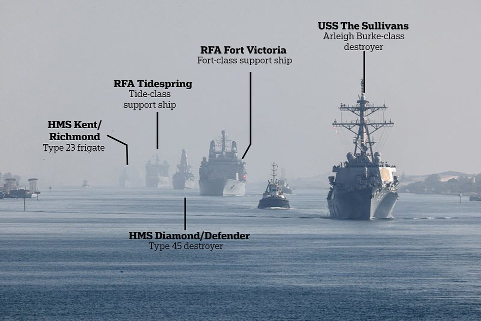 Part of the carrier group accompanying the Queen Elizabeth is pictured sailing through the canal on Tuesday, including a US destroyer, two British warships, and two Royal Navy support vessels