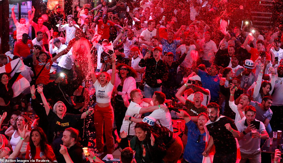 England fans party into the night at Boxpark in Croydon as the Three Lions secure their spot in the Euro 202 final