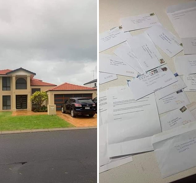 Gary and Lindsay Thomson, who live at Hillarys north of Perth, claim to have received creepy anonymous letters for over 20 years lecturing them about the look of their home. Some of the letters are pictured