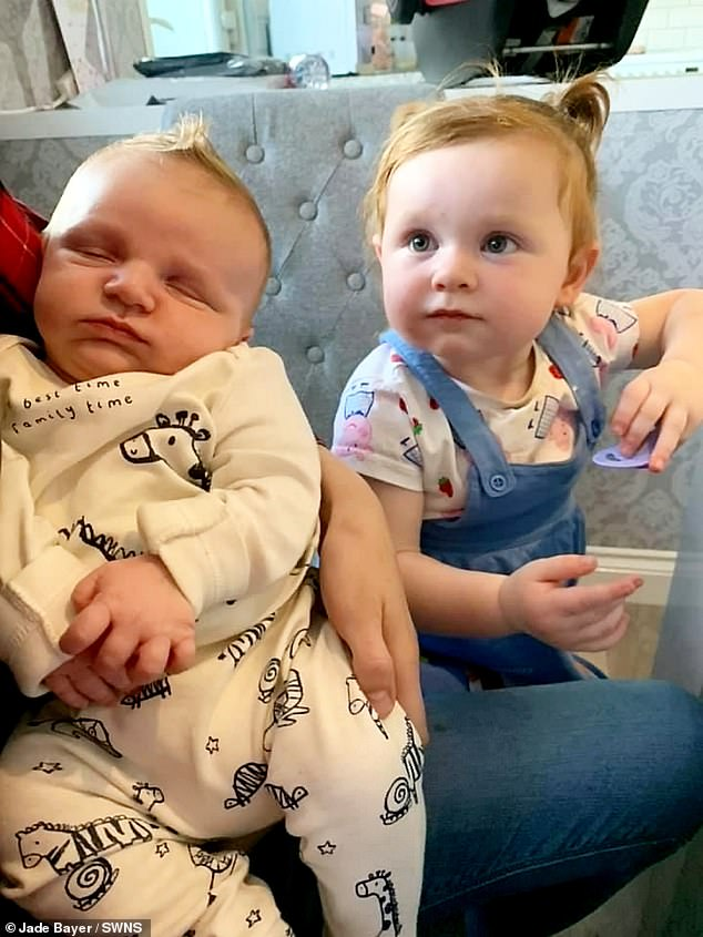 Newborn Ronnie next to his nephew Doffy, who is almost two.  Midwives were so shocked by Ronny-Jay's birth weight, they checked it twice