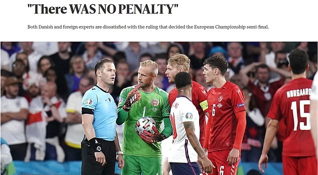 Berlingske also dedicated an entire article to arguing that Sterling's penalty should not have been given, saying Denmark were robbed of victory