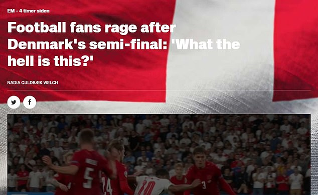 Newspaper B.T. shared fan reaction to the match, including plenty of fury directed at Dutch refereeDanny Makkelie who awarded an injury-time penalty to England