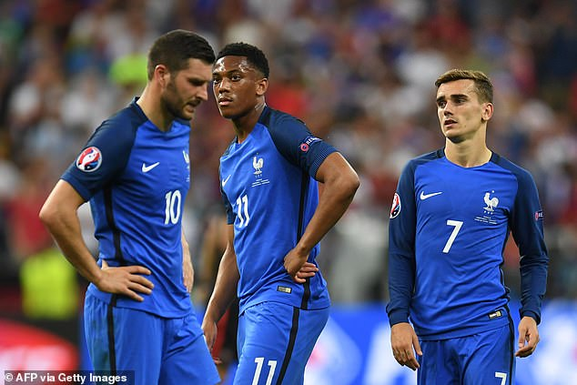 Andre-Pierre Gignac (left) last appeared for France in their Euro 2016 final defeat to Portugal