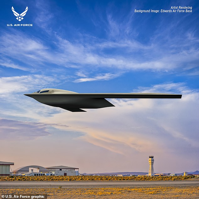 The US Air Force unveiled a new artist rendering image of its B-21 Raider stealth bomber, one that will cost the military more than $600 million per plane.