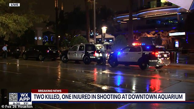 A heavy police presence was seen outside of the Downtown Aquarium complex after the shooting